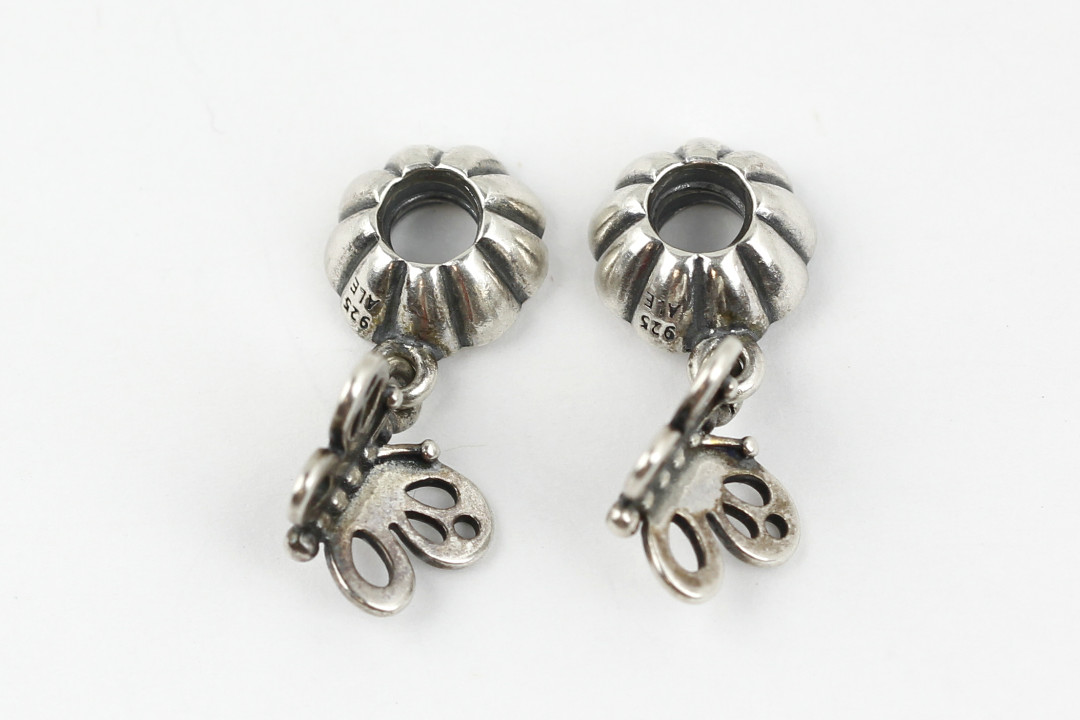 48dddced2 Pandora Sterling Set of 2 'Friends Forever' Butterfly Charm #790531 ...